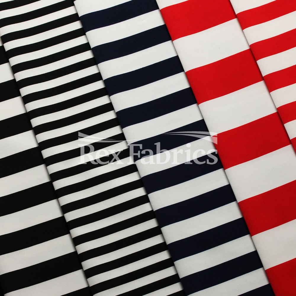 4 Way Stretch Sewing Materials Black Sold By The Yard Horizontal Stripe Print On Nylon Spandex Costume Fabric DIY Fabric