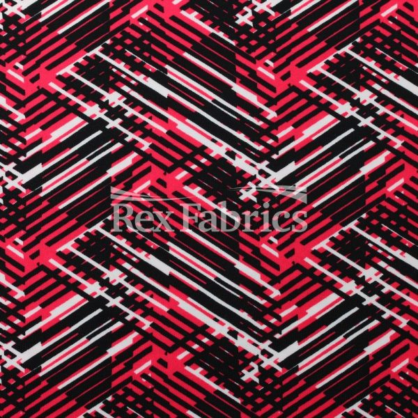Sewing Materials Sold By The Yard 4 Way Stretch Coralblack Costume Fabric DIY Fabric Checker Print On Spandex